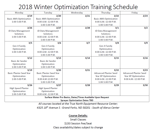2018 Winter Training Schedule